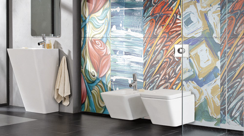 A Modern Bathroom Featuring ARTS REVERIE Porcel Thin ART Collection  Porcelain Tiles