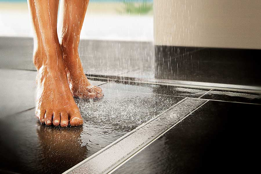 No Slip Flooring : Safe bathrooms have non slip floor tiles