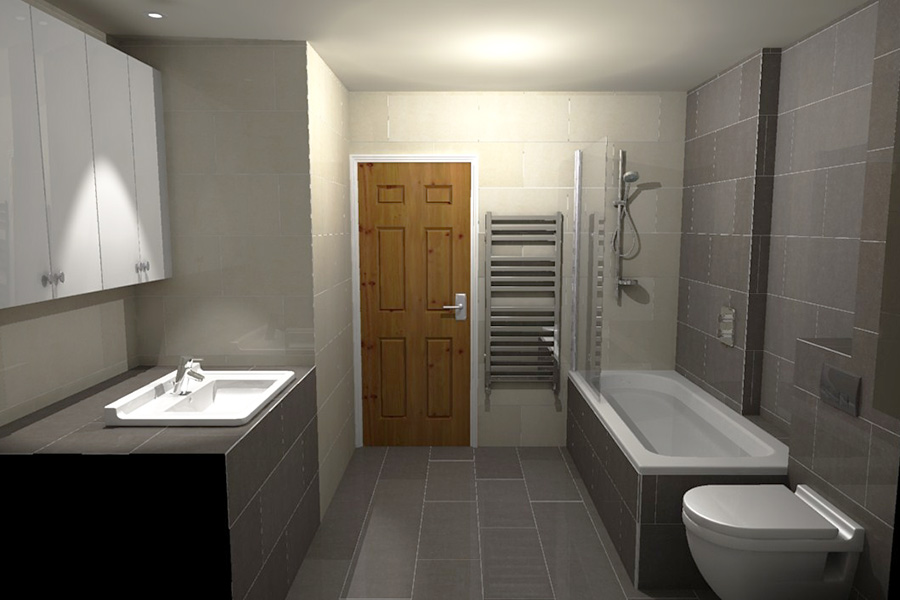 The Space Saving Over Bath Shower Provides For A Larger Vanity Unit
