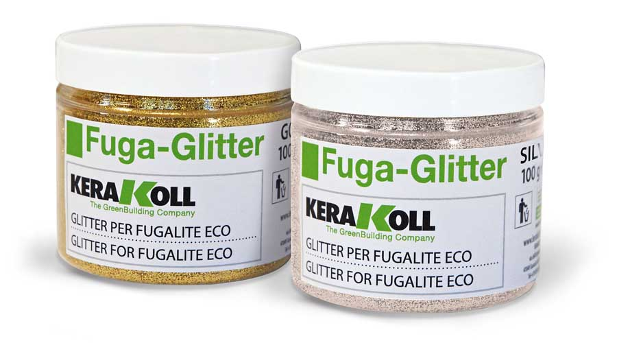 Fuga glitter can be added to tile grout when tiling a bathroom to ad sparkle and glamour to your tiles