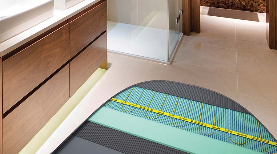 Bathroom Floor Showing The Installation Of Electric Underfloor Heating