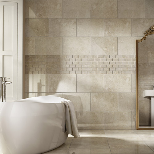 Buy grey beige polished marble wall floor tiles for for Granite and tile bathroom ideas