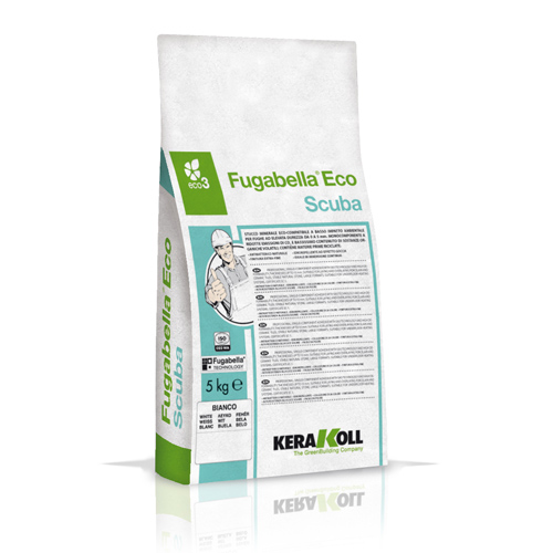 Kerakoll FUGABELLA ECO SCUBA water repellent tile grout for indoor and outdoor use 10123 01 White