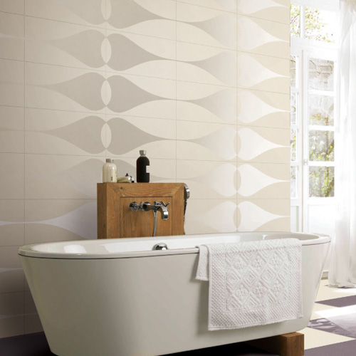 Porcel-Thin PARIS white teardrop pattern matt tiles in a contemporary bathroom