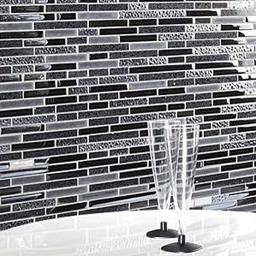 Black and grey glass and ceramic mosaic wall tiles