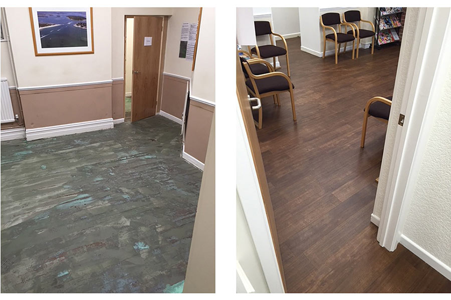 The main waiting room at Dentistry @ 68 before and after refurbishment works by UK Tiles Direct