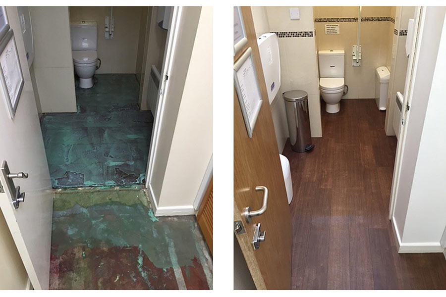 New customer toilets with Karndean flooring at a dentist in Poole by UK Tiles Direct