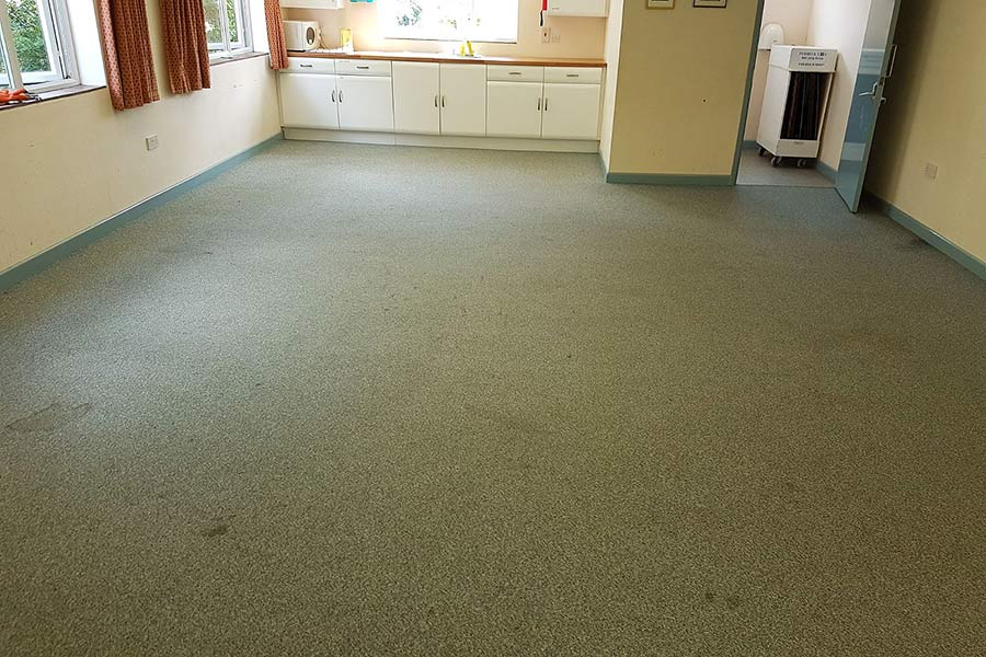 The tired and stained carpet at Stoborough village Hall was in desperate need of replacing