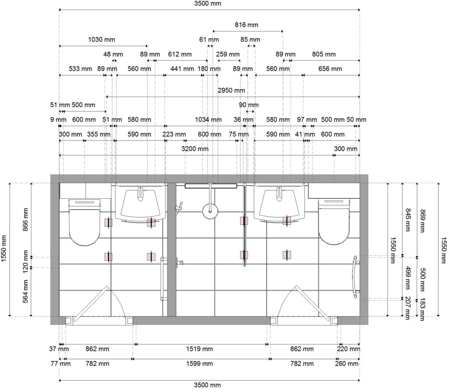Detailed floor plans for a new bathroom created by Room H2o in Wareham Dorset