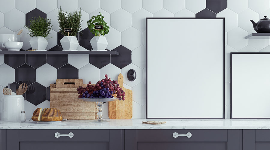 Hexagonal tiled splashback in kitchen