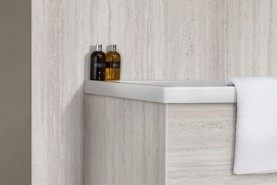 Bushboard nuance platinum bathroom wall panels and bath panel