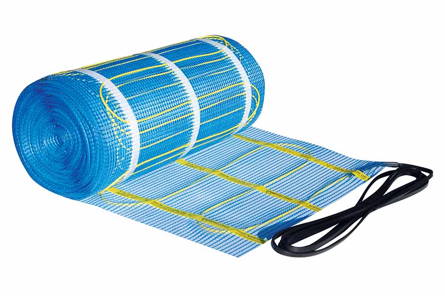 Thermonet electric underfloor heating mat is supplied in rolls for different sized rooms