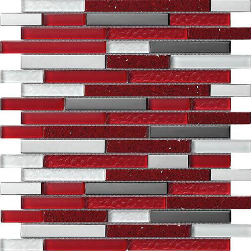 Red White Grey Amp Chrome Rectangular Mosaic Tiles In 30x30cm Sheets