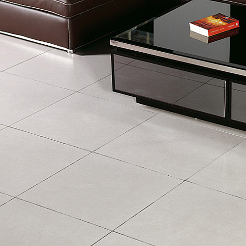 Light grey 400x400 ceramic floor tiles in a modern lounge