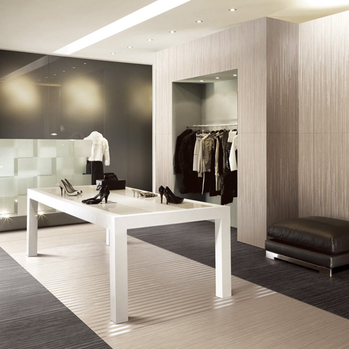This smart retail space features Porcel-Thin wood effect RICE WHITE W1 & EBONY W5 porcelain wall and floor tiles from the PATTAYA collection