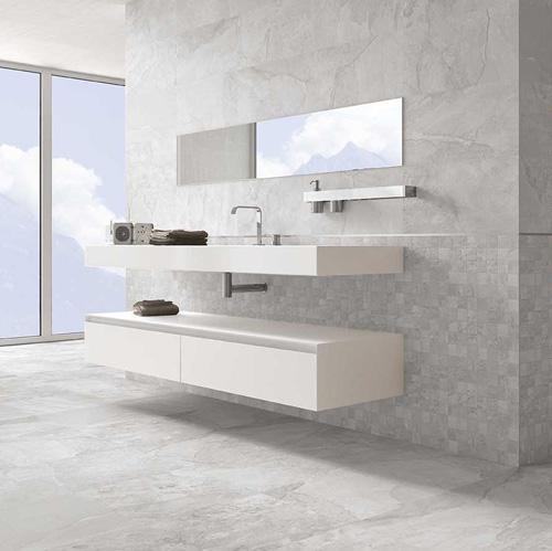Stone Effect Light Grey 48x48cm Floor Tiles