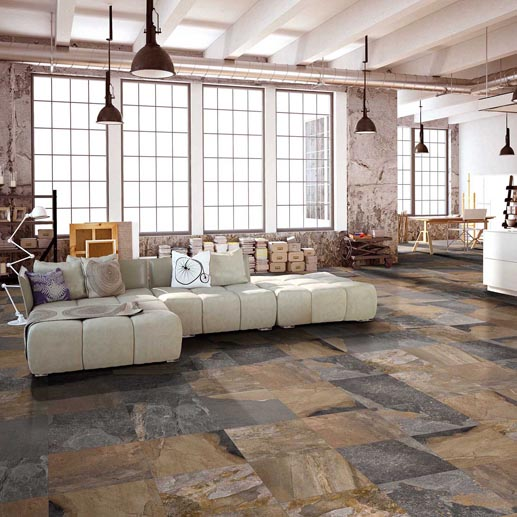 Mixed Stone Effect 48x48cm Porcelain Floor Tiles