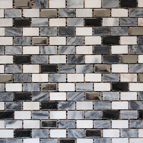 Lovely jet black rectangular segment brick mosaic tile sheets with contrasting white and grey stone segments