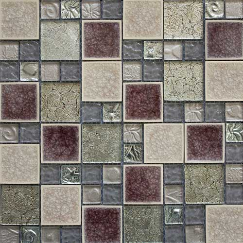Rose Leaf Glass Mosaic tiles with opus pattern in 300x300mm sheets
