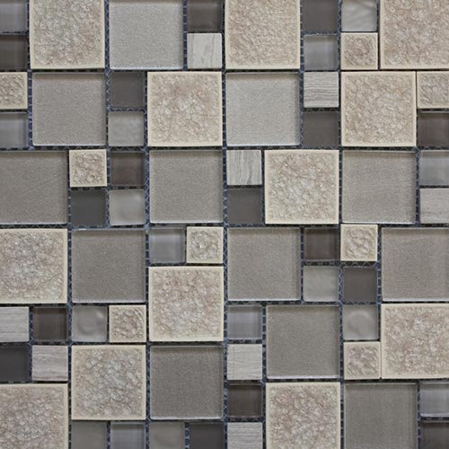 Grey Leaf Glass Mosaic tile with opus pattern in 300x300mm sheets