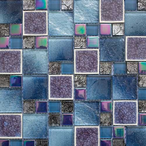 Blue Leaf Glass Mosaic tiles in opus pattern and 300x300mm sheets