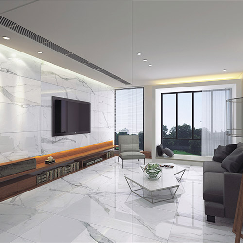Living Room Flooring India: White Calacatta Marble Effect Porcelain Wall & Floor Tiles