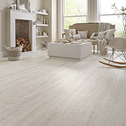 White washed wood effect Karndean Knight luxury vinyl flooring in a modern lounge