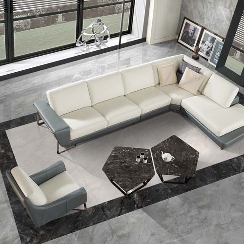 Porcel-Thin Luna grey marble effect ultra-thin polished porcelain floor tiles in a modern lounge 2