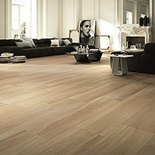 Natural wood effect porcelain floor tiles in light beige willow colour