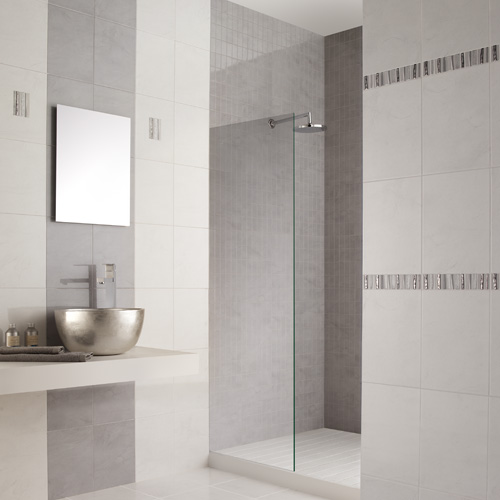 White Marble Effect Ceramic Wall Tiles With Grey Veins In
