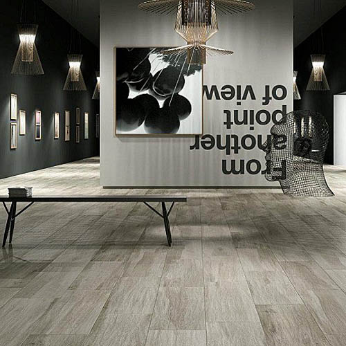 Silver Natural Wood Effect Floor Tiles