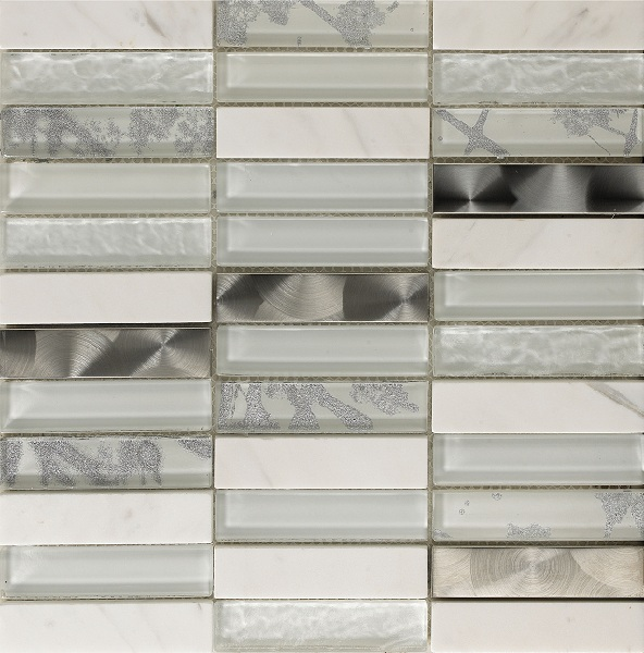 Artist White 23x98mm section glass mosaic