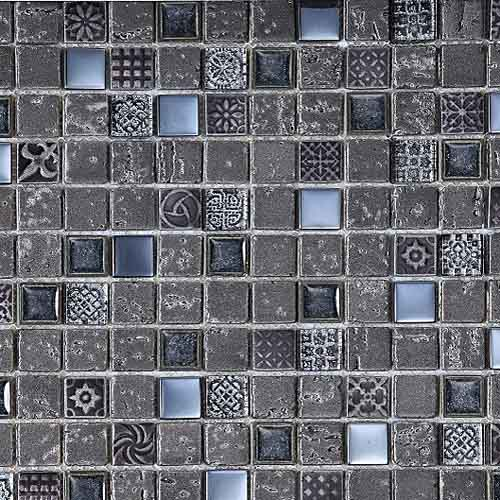 Imperial Graphite 23 x 23mm section stone mosaic tile