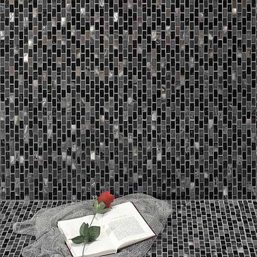 buy black marble pearl chrome mosaic tiles in sheets from uk