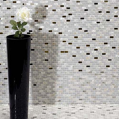 Nacar Nieve grey and pearl mosaic tile