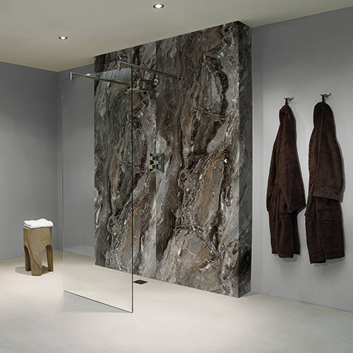 BB Nuance Grey Paladina pewter marble effect bathroom wall boards in a luxury walk-in shower