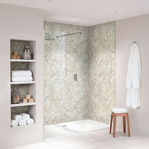 BB Nuance Soft Mazzarino light fudge stone effect bathroom wall boards in a luxury walk-in shower