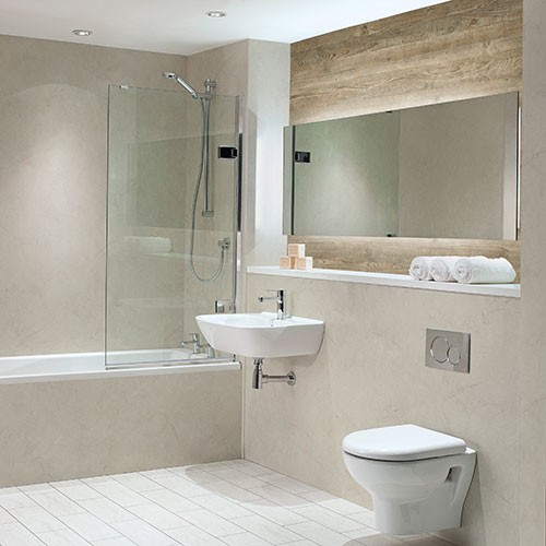 Luxury bathroom clad with Nuance Alabster stone effect wet wall panels by Bushboard