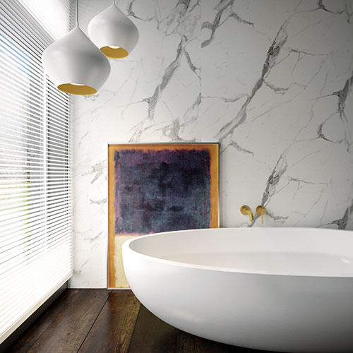 White marble effect bathroom panels