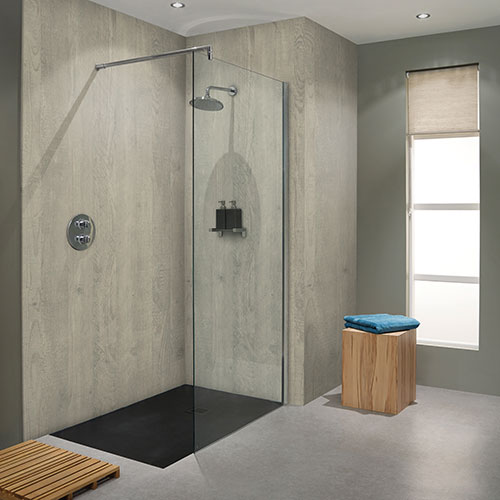 Chalkwood grey wood effect bathroom wall panels