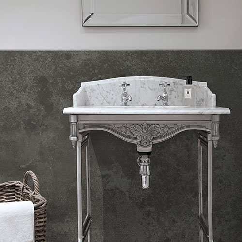 BB Nuance Magma slate grey stone effect wet wall boards in a period style bathroom