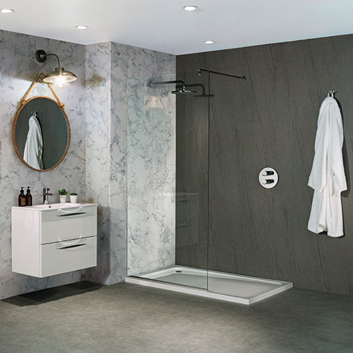 BB Nuance Natural Greystone dark graphite grey stone effect bathroom wall boards in a luxury walk-in shower