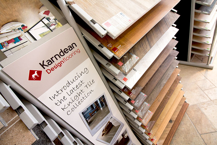 Karndean LTV vinyl flooring display at UK Tiles Direct in Dorset