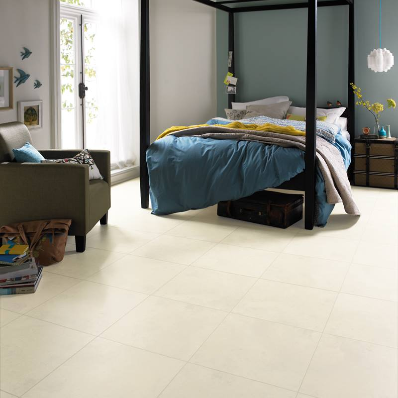 Karndean Luna pale stone effect vinyl flooring in bedroom