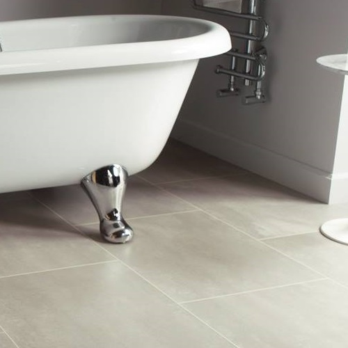 Karndean Mico light grey stone effect vinyl tiles in bathroom