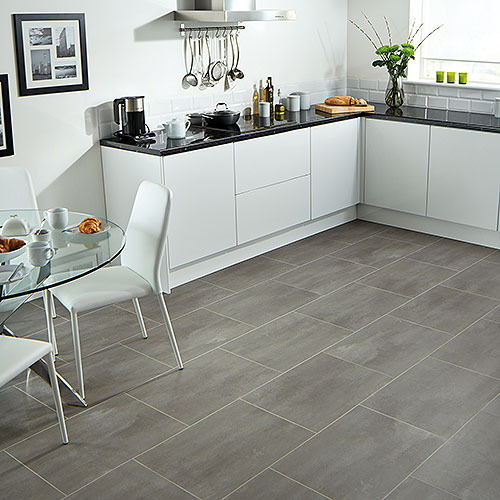 Karndean Urbus stone effect vinyl floor tiles in kitchen