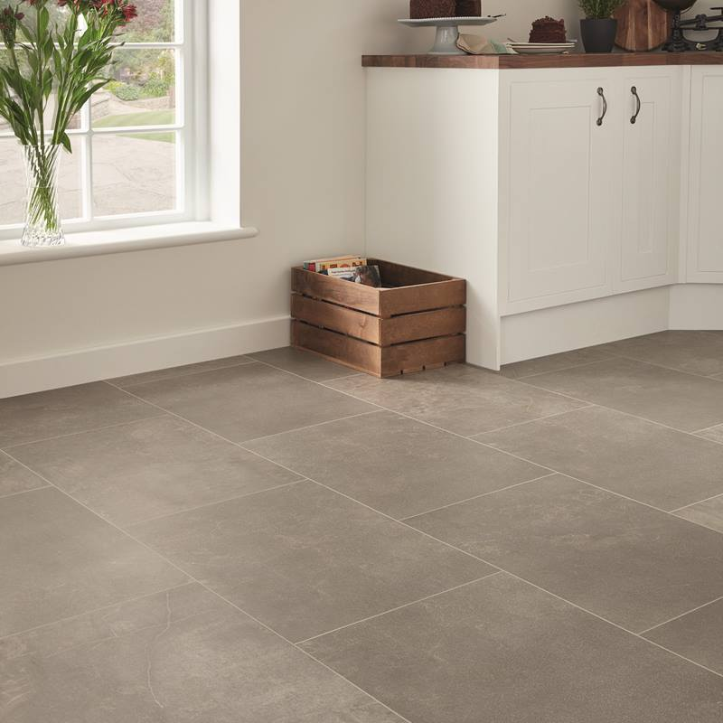 Karndean Fumo grey stone effect kitchen flooring