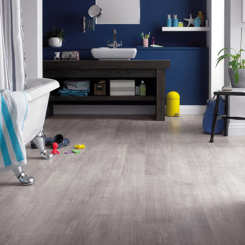 Grey wash vinyl flooring in bathroom