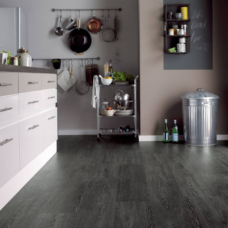 Karndean Argen charcoal wood effect tile in kitchen