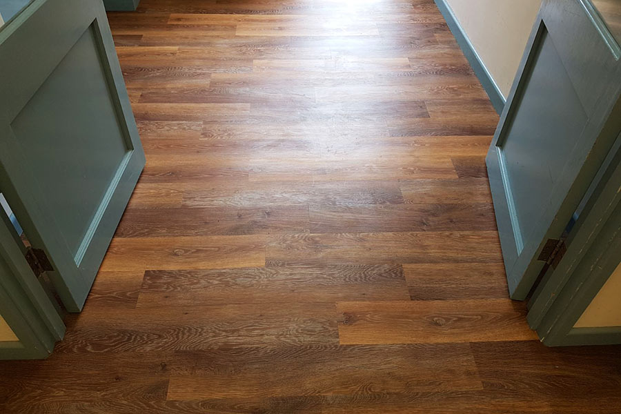 The limed oak vinyl plank flooring used for Wareham village hall has a granular text that feels just like wood and provides grip under foot